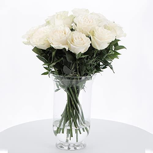 KENTIS - Bouquet di 12 Rose Bianche - Mazzo di Fiori Freschi a Domicilio in Italia Rose Vere Regalo