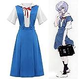 GGOODD Anime Neon Genesis Evangelion Cosplay Disfraz Fighting Girl Ayanami Rei Vestido Azul con Camisa Conjunto Completo Disfraz Diario