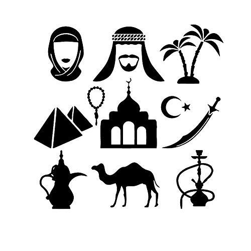 Indische Eigenschaften Wandaufkleber arabische Wasserpfeife Schwert rauchen coole Dekoration Vinyl Wandaufkleber Kamel Wohnzimmer Wohnkultur 57x56cm