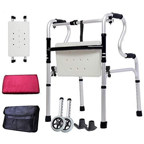 MYYLY Silla de Ruedas Wheelchair Sillas de Ruedas Andador Portátil Multifuncional para Caminar Persona Discapacitada con Bastón Pie Derecho, Plegable, Altura Ajustable (Size : Walker5)