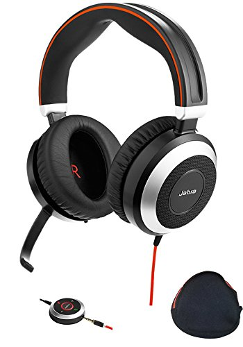 Jabra PC and Smartphone Headphones with Active Environmental Noise Canceling, Mic | Evolve 80 | PC Compatible Softphones and Apps - Cisco Jabber, Webex, Skype, Dragon, Audio Streaming