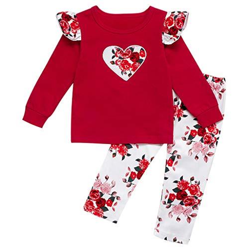Kobay Kleinkind Kinder Baby Mädchen Valentinstag Herz T Shirt Floral Hosen Outfits Mädchen Liebe Fliegen Ärmel T-Shirt Top + Floral Hosen Zweiteiler (1-5Y)
