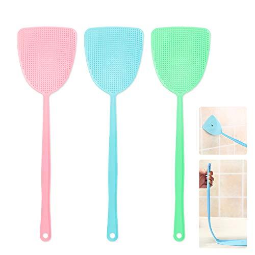 Ledeak Tapette à Mouches en Plastique 3Pcs, Multi-Fonction Antiparasitaire Tapis à Mouches avec Long Poignée pour Insectes