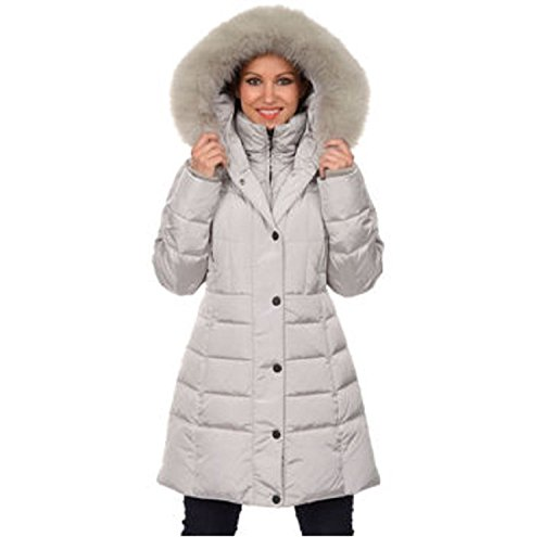 1 Madison Ladies' Down Coat with Faux-fur Hood and Inner Vest-pinot (Large, Stone)