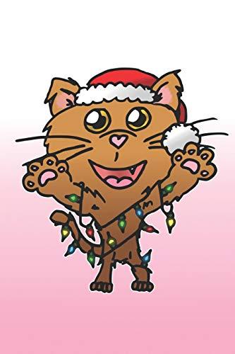 Eikland - Notes: Haustier Katze Weihnachten Lichterkette Weihnachtsmann Mütze - Notizbuch 15,24 x 22,86 kariert