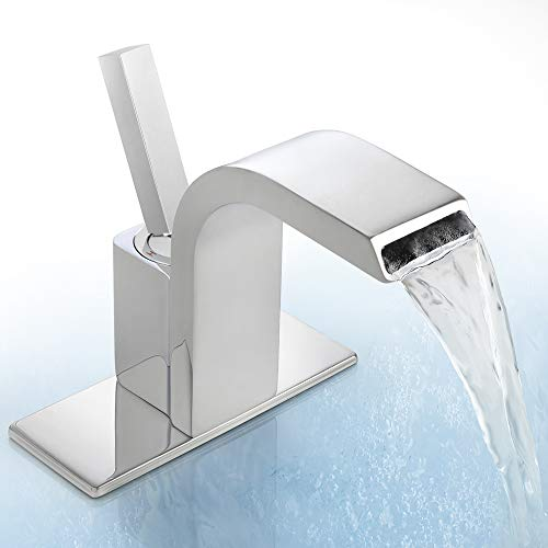 Waterfall Bathroom Faucet Single Hole Deck Mount Bathroom Faucets Waterfall Spout Bathroom Faucet Vessel Sink Faucet Include Deck Plate, Dr Faucet Polished Chrome Finished