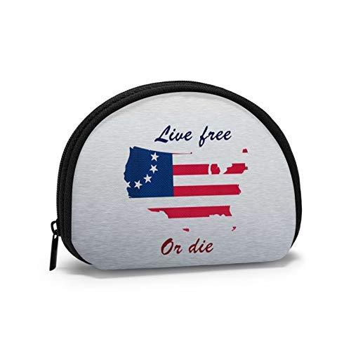 Monedero Live Free Or Die Bandera Americana Shell Bolsa de almacenamiento de las mujeres bolso multifunción portátil cosméticos bolsos cartera