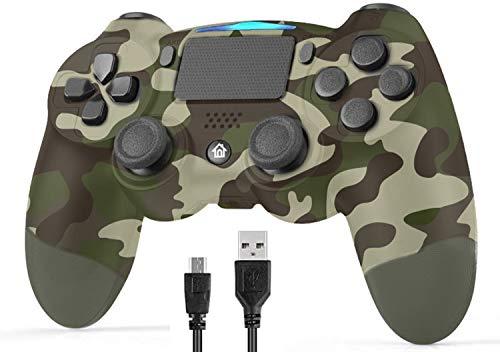 Controladores inalámbricos Poulep para PS4 Playstation 4 Dual Shock Six-axis, Bluetooth Remote Gaming Gamepad Joystick (camuflaje verde)