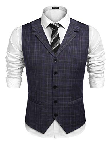 COOFANDY Men's Business Suit Vest Slim Fit Twill Dress Waistcoat for Wedding Party Dinner (L, Dark Grey)