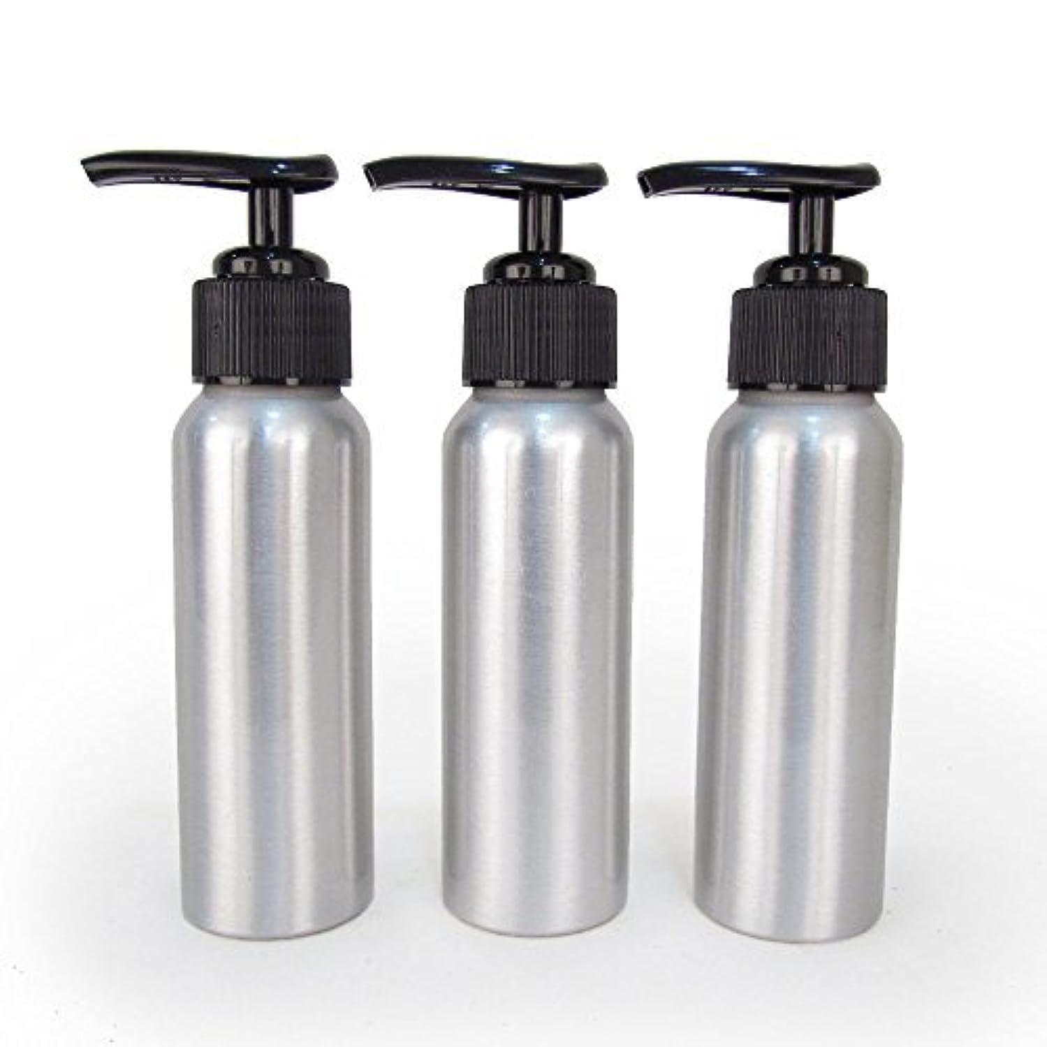 違反シンボル脅威Set of 3 - Slender Brushed Aluminum 2.7 oz Pump Bottle for Essential Oil Products by Rivertree Life [並行輸入品]