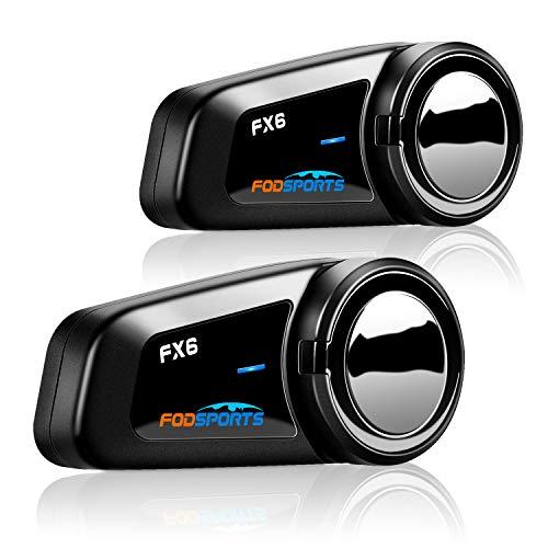 FODSPORTS FX6 Intercomunicador Bluetooth Casco Moto con CVC Reduce El Ruido,Hi-Fi,Los Auriculares Motocicleta con GPS por Voz,FM,Manos Libres,Intercomunicador 6 Jinetes,Batería Fuerte(2 Paquetes)