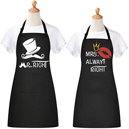 Claswcalor Mr. Right Mrs. Always Right Aprons for Couple, 100% Cotton Cooking Apron with Pockets, Mr Mrs Apron Bridal Present for Bride,Wedding Gifts for Couple, 10th Anniversary Present for Couple