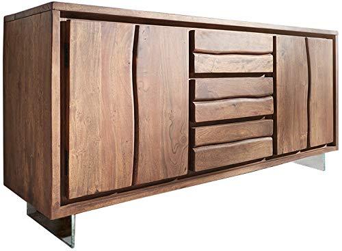 DELIFE Kommode Live-Edge Akazie mit Türen und Schubkästen Glasbeine Baumkante Sideboard
