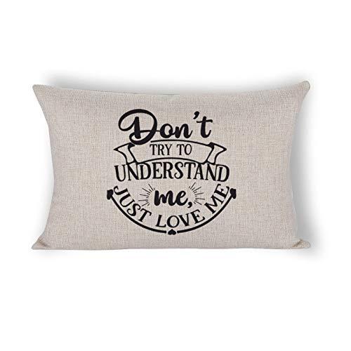 happygoluck1y Just Love Me - Fundas de almohada lumbar, color negro, 12 x 20, fundas de almohada de granja, fundas de almohada de lino y algodón para sofá sala de estar