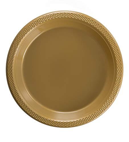 Exquisite 7 Inch. Gold Plastic Dessert/Salad Plates - Solid Color Disposable Plates - 50 Count