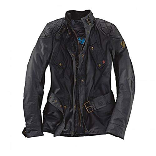 Chaqueta de moto Hairpin Belstaff para mujer (algodón encerado, color negro) 42