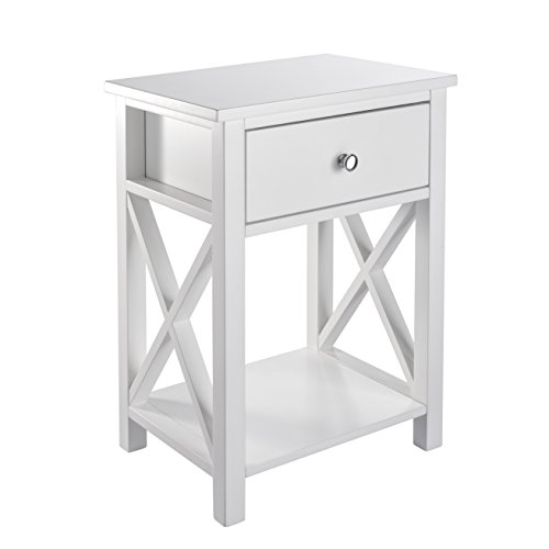 MAGIC UNION X-Design Side End Table Night Stand Storage Shelf with Bin Drawer White Modern Accent Wooden Bedroom Cabinet
