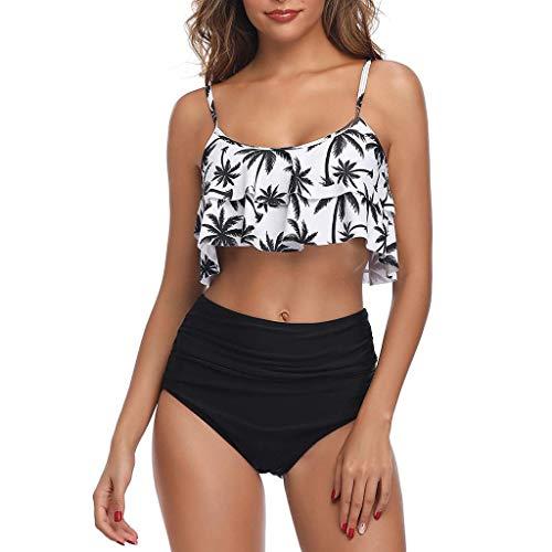 KaloryWee Damen Bikini Set Zweiteiler Badeanzug Push-Up Halter Geraffte Hohe Taille Print Bandage Wrap Retro Beachwear Swimsuit