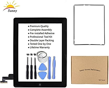 iPad 2 A1395 A1396 A1397 Screen Replacement Digitizer Glass Assembly(Black) - Includes Home Button Camera Holder Pre Installed Adhesive Stickers Bezel Frame and Professional Tool Kit