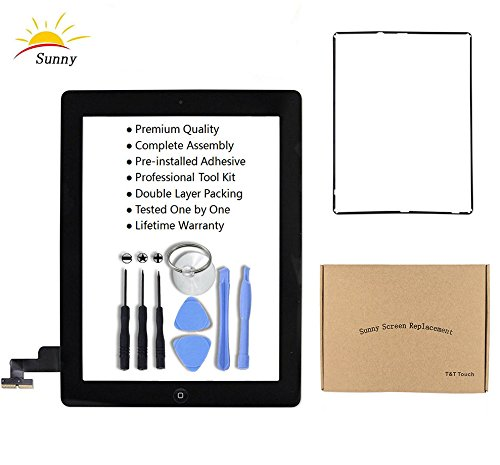 iPad 2 A1395 A1396 A1397 Replacement Screen Digitizer Glass Assembly(Black) - Includes Home Button Camera Holder Pre Installed Adhesive Stickers Bezel Frame and Professional Tool Kit