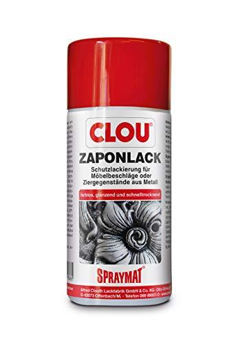 Clou Spraymat Zaponlack zur Schutz-Lackierung von Möbelbeschlägen und Ziergegenständen aus Metall im Innenbereich, 300ml