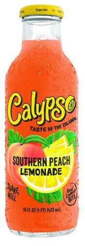 Calypso Lemonades 16 Ounce Glass Bottles 6 Pack (Southern Peach Lemonade)