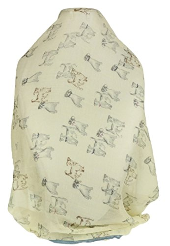 Girly Handtassen Womens geschetste honden sjaal hond rassen afdrukken Terrier Beagle - crème lichtblauw