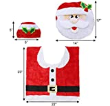JOYIN 5 Stück Weihnachten Toilettensitzbezug im Weihnachtsmann Design, WC Toilettendeckelbezug Set mit Sitzbezug & Teppich & Gewebe Deckel & Tankabdeckung & Handtuch für Badezimmer Weihnachtsdeko - 3