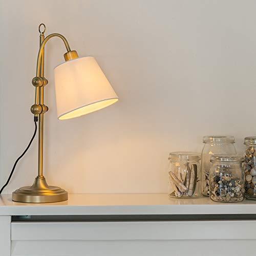 QAZQA Klassisch/Antik Klassische Tischlampe Bronze mit weißem Schirm - Ashley/Innenbeleuchtung/Wohnzimmerlampe/Schlafzimmer Textil/Stahl Andere LED geeignet E27 Max. 1 x 60 Watt