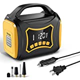 Rovtop Tire Inflator Air Compressor - Partable Air Pump 12V DC / 110V AC, Dual Electric Power Supply & Dual Power Motors, Digital Pressure Gauge