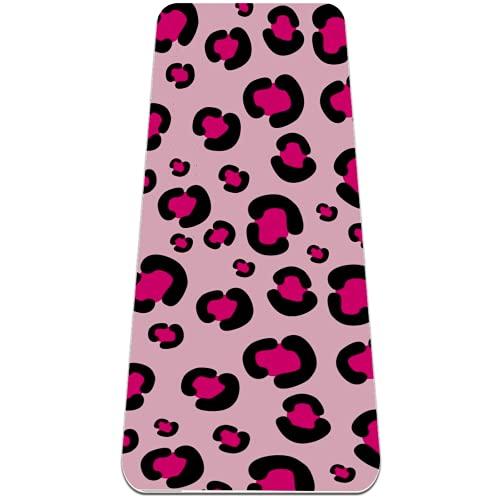 Alfombra de yoga con estampado de leopardo rosa femenina, respetuosa con el medio ambiente, antideslizante, esterilla de entrenamiento para yoga, pilates y ejercicios de piso 72 x 32 pulgadas