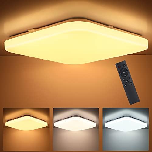 Oeegoo lámpara de techo regulable, 24W plafón techo LED con control remoto, lámpara de habitación infantil, luz LED sin parpadeo, lámpara LED para sala de estar, comedor, pasillo, 3000K-6500K