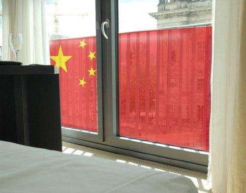 Fensterbild Chinese Flag Flagge china Staatssymbol Fan chinesisch Flagge Fenstersticker Fensterfolie Fensteraufkleber Fenstertattoo Glas-Sticker Fensterdeko Fensterdekoration Größe: 108cm x 180cm