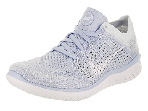 Nike Womens Free Rn Flyknit 2018 Low Top Lace Up Running Sneaker, Blue, Size 9.0