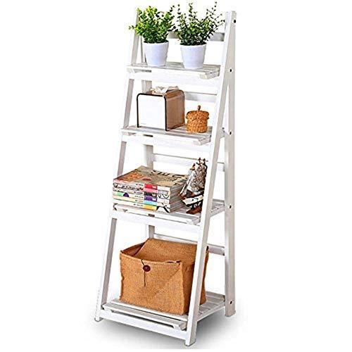 5213 HJ54, set van 4 dierenbloemen voor buiten, hout, vouwwerk, opslag, rek, staande bloem, trappenhuis, plank, ladder, display vrijstaand, wit