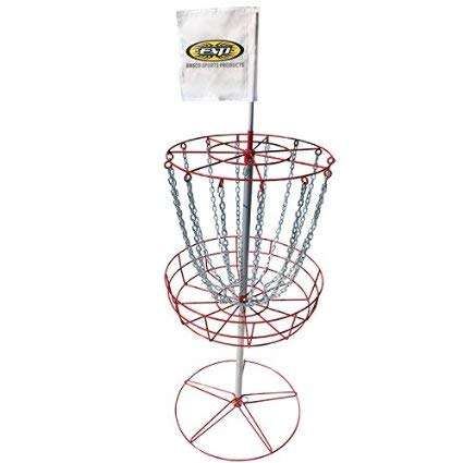 Emsco Group ESP Disc Golf Portable Target Stand with Metal Stand, Catch Chains and Basket