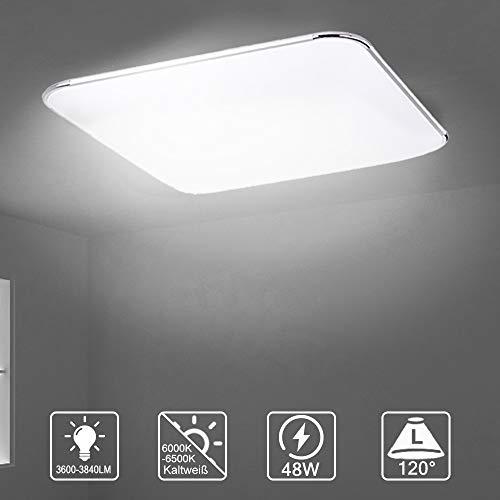 LZQ 48W LED Deckenleuchte Ultraslim Deckenlampe Fernbedienung und Licht Silber Schlafzimmer Flur Wohnzimmer Wandleuchte Lampe Bad Küche Panel Leuchte(48W Kaltweiß)