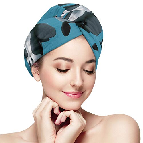 Zhgrong Feature Orca White Shark Attack Mikrofaser Haartuch Turban Wrap - Ultra Absorbent & Quick Magic Haartrockner Hut