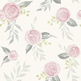 York Wallcoverings MK1125 Magnolia Home 56 Square Foot - Watercolor Roses by Joanna Gaines - Pre-Pasted Surestrip Paper Wallpaper