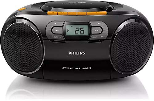 Philips AZ328 Stereo CD Cassette Player, Portable Boombox, USB, FM, MP3, Tape, Black (Renewed)
