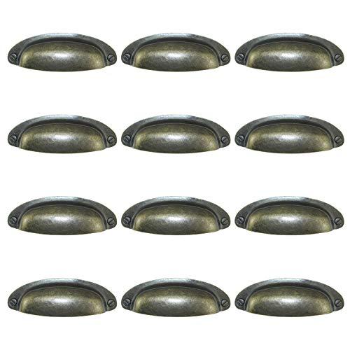 Morobor Paquete de 12 pomos de 3.46 pulgadas con espaciamiento de agujero, plateado, estilo granjero, tiradores de taza, asas tipo concha, asas tipo oreja, para gabinete, cajón, cajón, bronce verde
