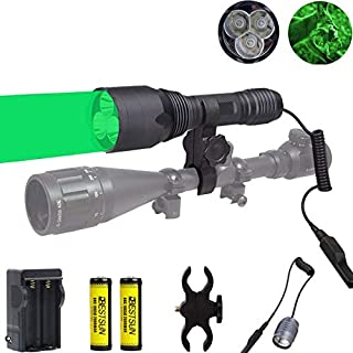 BESTSUN 3Pcs Green LED Light 350 Yards Predator Hunting Flashlight Kit with Scope Mount for Hog Coyote Pig Varmint Raccoons Coon Deer Night Hunting