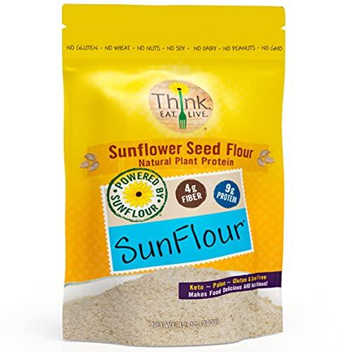 Think Eat Live SunFlour, Sunflower Seed Flour (12 oz.)   Low Carb, Grain Free, Nut Free, Allergen Free, Keto, Paleo, Vegan & Diabetic Friendly Flour with Natural Plant Protein