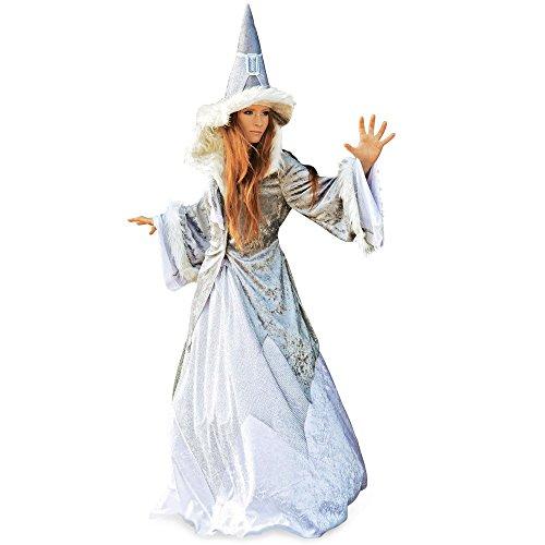 Damen Kostüm Schneekönigin Glitzer Fasching Märchen Fee Magierin Hexe Damen spitzer Hut weites Kleid Jacke mit Kunstfell Gr. XS