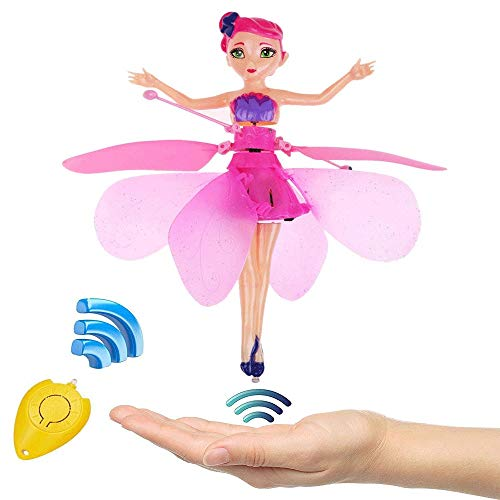 Mopoq Flying Fairy Princess Doll Hand Infrared Induction Control Dolls Apple Remote Control LED Light Night Sky Flight Boy Child Girls Birthday Toy for Kids Gift (Color : Pink)
