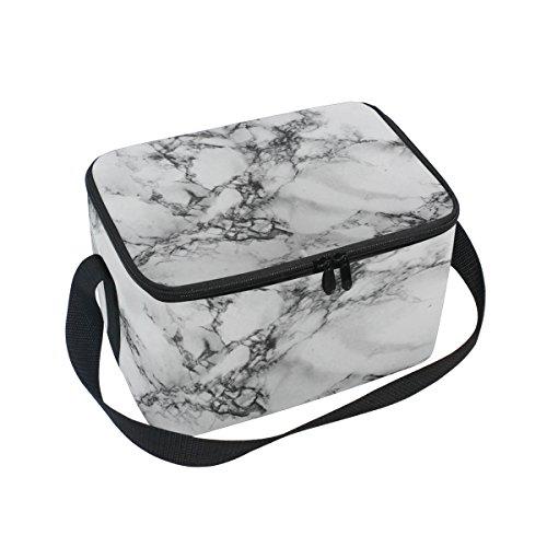 DOSHINE Bolsa de almuerzo con textura de mármol abstracta, bolsa térmica para el frío de hielo reutilizable para hombres, mujeres, adultos, niños y niñas
