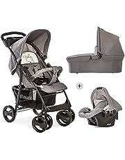 Hauck Shopper SLX Trio zestaw 3 w 1 wózek dziecięcy do 25 kg + fotelik dziecięcy + gondola dla niemowląt z materacem od urodzenia, Buggy z funkcją leżanki, uchwyt na napoje, lekki, składany