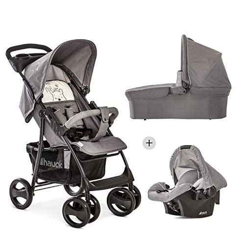 Hauck Shopper SLX Trio Set 3 in 1 Kinderwagen bis 25 kg + Babyschale + Babywanne mit Matratze ab Geburt, Buggy mit Liegefunktion, Getränkehalter, leicht, klein faltbar, pooh cuddles