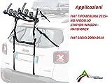 Portabicicletas ensamblado y listo para usar (3 bicicletas) para portón o maletero trasero para coche específico para tipo Berlina 2015 (No Station Wagon) - Asientos 2006 2014