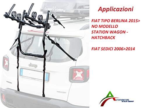 Portabicicletas ensamblado y listo para usar (3 bicicletas) para portón o maletero trasero para coche específico para tipo Berlina 2015 > (No Station Wagon) - Asientos 2006 > 2014
